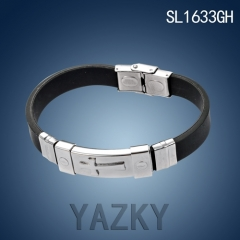 Stainless steel and black rubber bracelet for man