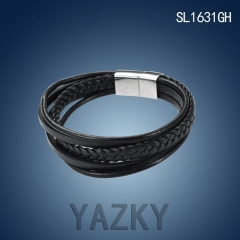 Stainless steel and PU leather bracelet for man