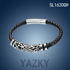 Stainless steel and PU leather bracelet