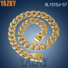 Broad stainless steel gold color new design chain necklace